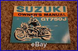 NOS 1972 Suzuki GT750 Owner's Manual, GT750J