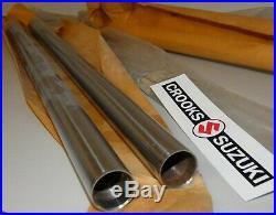 NOS 51110-20400 RM80 Genuine Suzuki Chrome Fork Inner Tube Set, 30mm Diameter