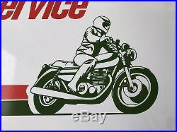 NOS Original 70s Castrol Motorcycle Service Sign Kawasaki Honda Suzuki 24x16