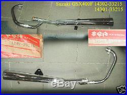 Suzuki GSX400 Exhaust Pipe L+R 1981 NOS GSX400F Muffler 14301-33215 14302-33215