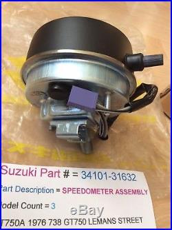 Suzuki Gt750 Lma 74-76 Nos Speedometer Blue Face In Box Pt No 34101-31632 New
