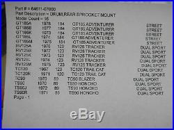 Suzuki NOS GT185, RV125, TC120, Rear Sprocket Mount Drum, # 64611-07000 S90