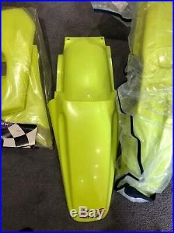 Suzuki Rm125 UFO Flo Yellow Plastics Nos 1993-95 Super Evo Neon Fluorescent