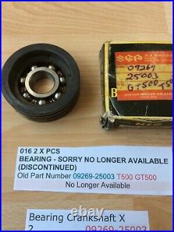 Suzuki T500 All Gt500 Nos Crankshaft Bearings 09269-25003 X 2 09296-30002 X 1